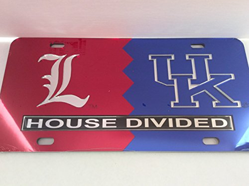 (Louisville Cardinals / Kentucky Wildcats House Divided Laser Cut License Plate Tag)