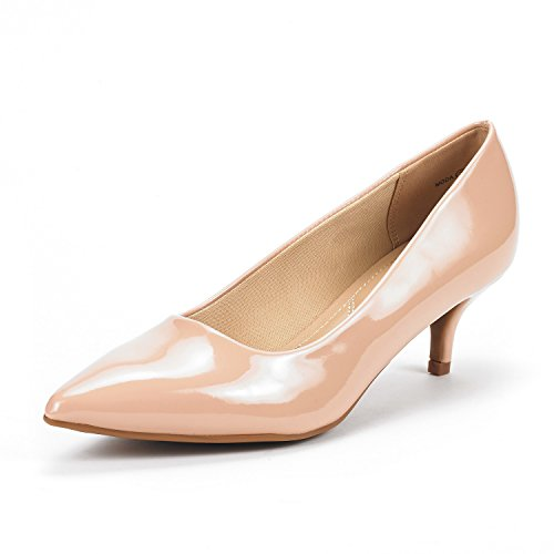 DREAM PAIRS Women's Moda Nude Pat Low Heel D'Orsay Pointed Toe Pump Shoes Size 6.5 M US