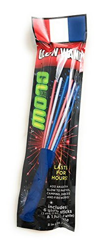 4th of July Glow Wand!!! 6 Glow Sticks, Red White and Blue!!!!! 1 Handle! (8in, Blue Handle) ()