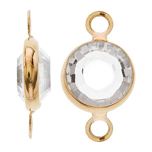 - Swarovski Crystal, Gold Plated Channel Connector Link, 7mm, 4 Pieces, Crystal