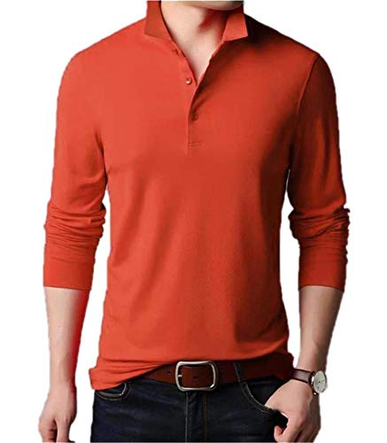 (Aiyino Men's Dry Fit Long Sleeve Polo Golf Shirt Cotton T Shirts M Long Sleeve-Red)