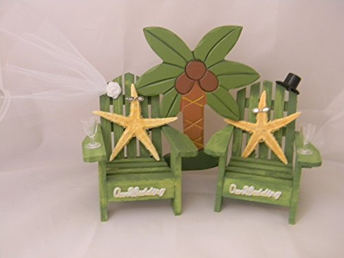 Wedding-Party-Adirondack-Chairs-Palm-Tree-Starfish-Cake-Topper