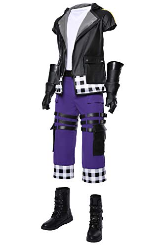 Kingdom Hearts III Riku Outfit Halloween Cosplay Costume Full Set (XXL, Purple)]()
