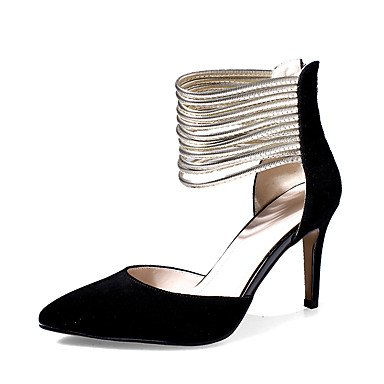 LvYuan Tacón Stiletto-Zapatos del club-Sandalias-Fiesta y Noche Vestido-Cuero-Negro Marrón Black