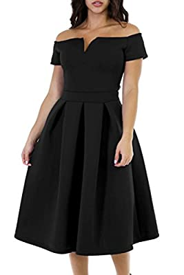 Cyerlia Womens A-Line Off Shoulder Vintage Swing Cocktail Party Midi Dress