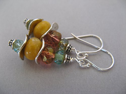 (Colorful Gemstone and Czech Picasso Glass Mixed Metals Sterling Silver Earrings Artisan Jewelry)