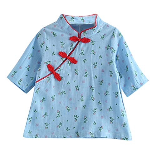 Kids Girls Cheongsam T-Shirt Girl Summer Casual Tee Floral Printed Short Sleeve Button Loose Top Clothes GIF (Age: 18-24 Months, Sky -