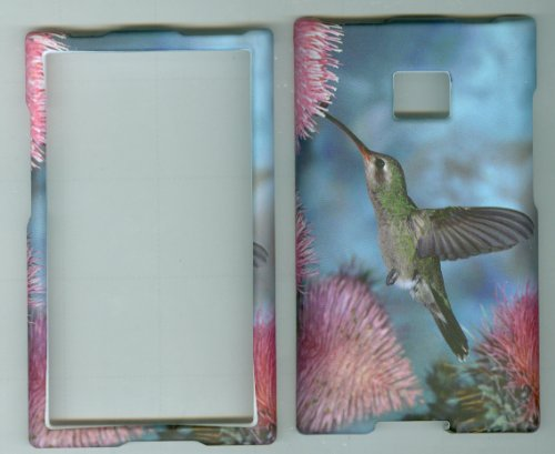 LG OPTIMUS LOGIC L35G L3 E400 DYNAMIC L38C Net 10 Straight Talk phone snap on hard rubberized case cover faceplate protector CAMOUFLAGE HUNTER PINK FLOWER HUMMING BIRD (Lg Optimus Logic Phones compare prices)
