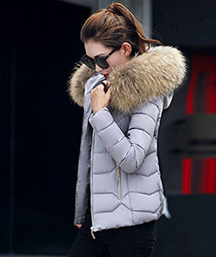 Yiiquan Donna Cerniera Grigio Calda Faux Cappuccio Invernale di Giubbino Imbottito Pelliccia Cappotto 2 Giacca con rrq41Rw