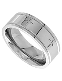 Surgical Steel 8mm Cross Wedding Band Ring Comfort-fit, sizes 6 - 14