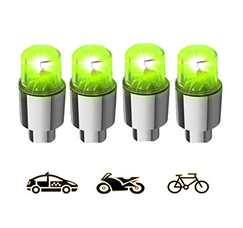 Gechiqno 4 Pair LED Green-Color Wheel Lights - Car Bike Wheel Tire Tyre Valve Dust Cap, Safety, Waterproof, Motion Activated, Spoke Flash Lights Car Valve Stems & Caps Accessories (Green)