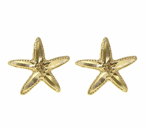 14K yellow gold Hawaiian 12mm diamond cut sea star starfish post stud earrings by Arthur's Jewelry