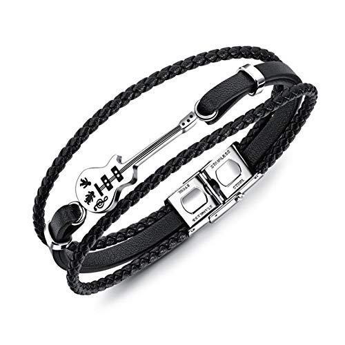 YJFNNSL Fashion Guitar Bracelet Black Leather Bracelet Braided Rope Multi Layer Stainless Steel Bangle for Men Jewelry Punk 21Cm