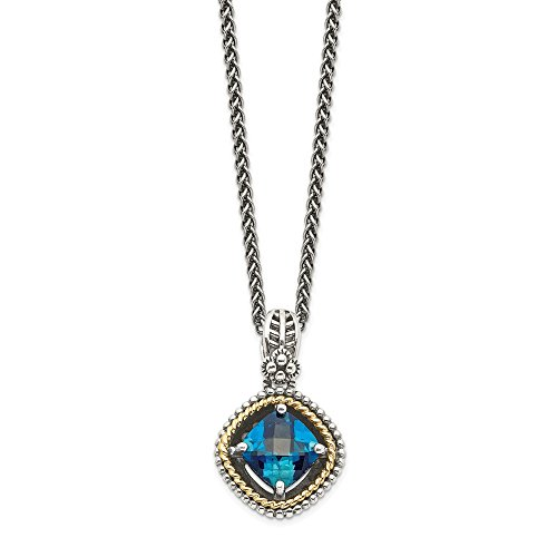 925 Sterling Silver 14k London Blue Topaz Chain Necklace Pendant Charm Gemstone Fine Jewelry Gifts For Women For Her ()