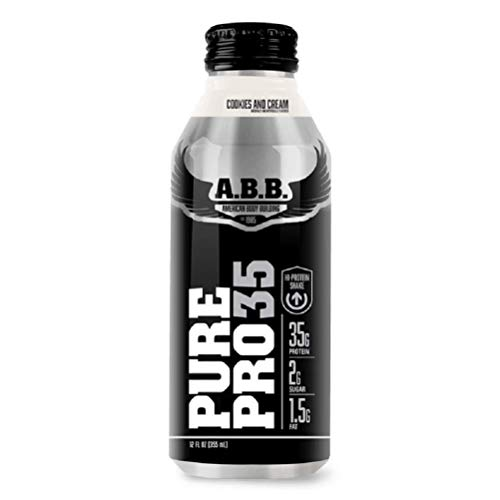 American Body Building Pure Pro 35, Premium Protein Shakes, Muscle Recovery, HI-Protein, Low Fat, Low Sugar, Cookies and Cream Flavored Ready to Drink 18 oz Bottles, 12 Count