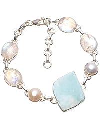 "Natural Caribbean Larimar,Rainbow Moonstone and River Pearl Boho 925 Sterling Silver Bracelet 6 3/4-8"""