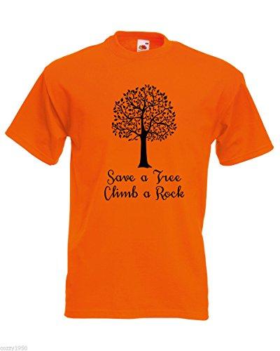 Cadeau Arbre Chemise shirt Nature Save Escalader Orange Au Citation Abstrait Hommes T Modèle Hasard Un Gratuit Rocher Décalque D'arbre A Énorme Avec Feuilles Rxa6qY