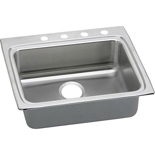 Lustertone 3 Hole - Elkay LRAD2522403 3-Hole Gourmet Lustertone 25-Inch x 22-Inch Self Rimming Single Basin Stainless Steel Kitchen Sink
