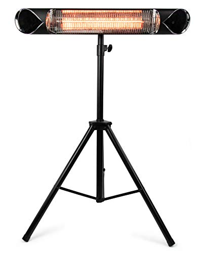 Briza Carbon Infrared Heater – Patio Heater – Shop Heater – Indoor/Outdoor Heater – Wall Heater – Stand Heater – 1500W – Comes with Stand – Mount to Ceiling/Wall