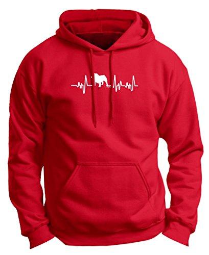 English Bulldog Rescue Mom Dad English Bulldog Gifts Dog Lover Heartbeat Bulldog Premium Hoodie Sweatshirt 3XL DpRed ()