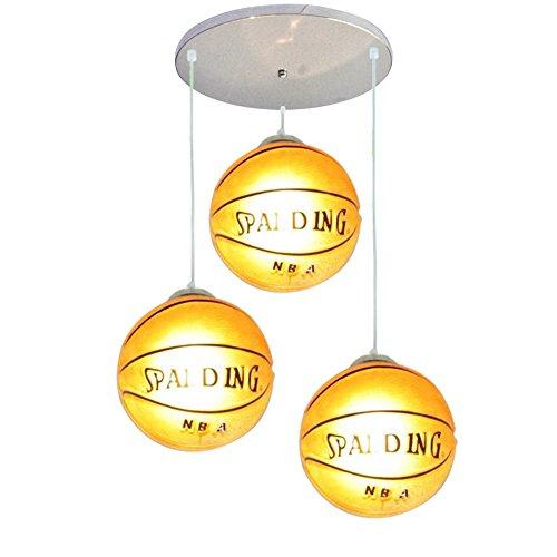 Pendant Glass Light Childrens (Mengzhu-Michelle Basketball Chandelier Modern LED 3 Head Adjustable Industrial Loft Glass Creative Pendant Light for Children's Room Ceiling Lighting Fixtures E27)