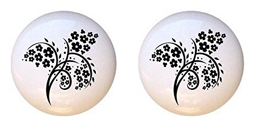 (SET OF 2 KNOBS - Chinese Swirl Floral Design #056 - GF Images - DECORATIVE Glossy CERAMIC Cupboard Cabinet PULLS Dresser Drawer KNOBS)