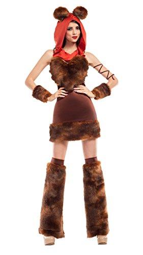 Womens Cute Furry Space Creature Costume - M (Ewok Mask)