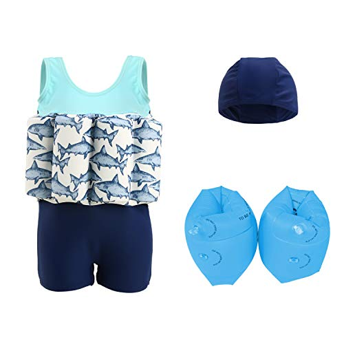 (Wowelife Baby Float Suit with Arm Bands Toddler Floating Swimsuit with 8 Removable Buoyancy Sticks for Boys and Girls, 1-4 Years)