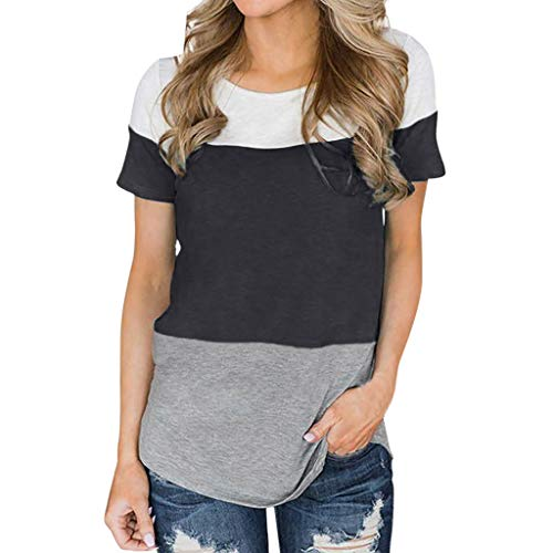 Wintialy 2019 Women's Fashion Knotted V-Neck Lace Strap Short Sleeve Top Black ()