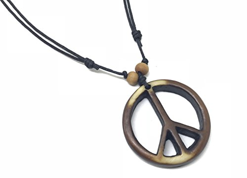 Peace Sign Necklace - Peace Symbol Necklace - Resin Peace Sign Pendant - Adjustable Black Cord (Brown)