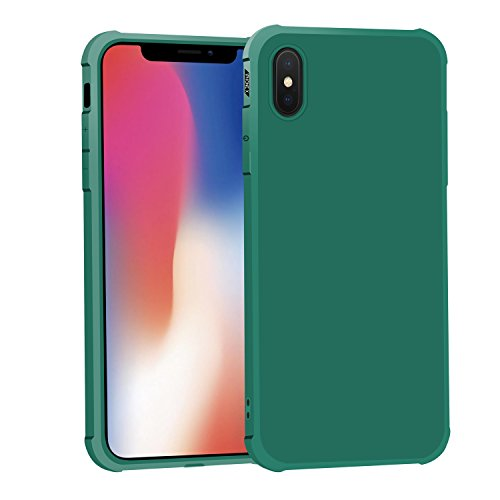 VEKLR iPhone X Case, Matte Surface Soft Slim Fit Non-Bulky Cover, Protective Phone Case with Corner Air Cushion ONLY Compatible iPhone X(Emerald Green)