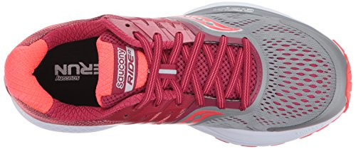 Saucony Women's Ride 10 Running Shoes Grey Heather Coral Pink OdmT8w