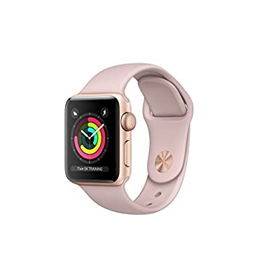Apple Watch Series 3 38mm Smartwatch (GPS Only, Gold Aluminum Case, Pink Sand Sport Band) (Certified Refurbished)