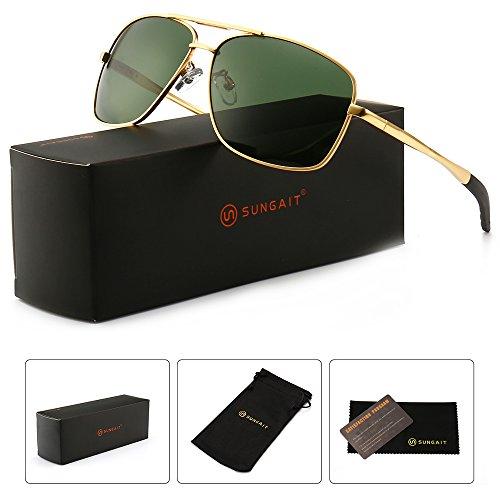 SUNGAIT Men's Polarized Sunglasses Durable Metal Frame for Fishing Driving Golf (Gold Frame/Green Lens) Metal Frame 0925 JKLV