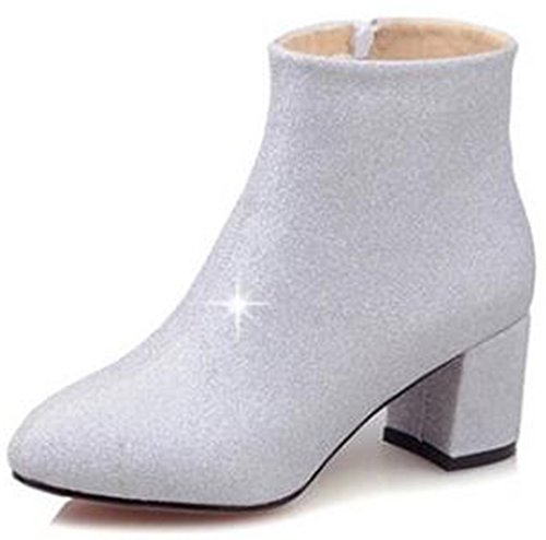 Summerwhisper Women's Elegant Glitter Sequins Almond Toe Bridal Booties Side Zipper Mid Block Heel Ankle Boots Silver 9 B(M) US by Summerwhisper
