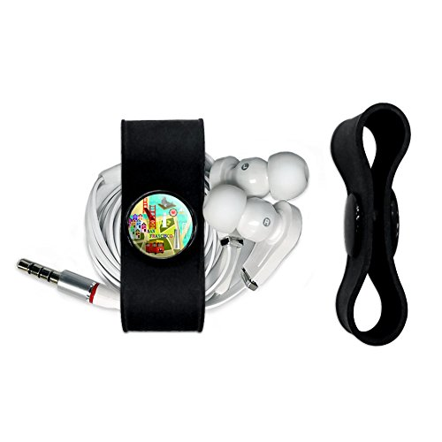 San Francisco Golden Gate Bridge Bay Pier 39 Headphone Earbud Cord Wrap - Charging Cable Manager - Wire Organizer Set - - San Stores Francisco Pier 39