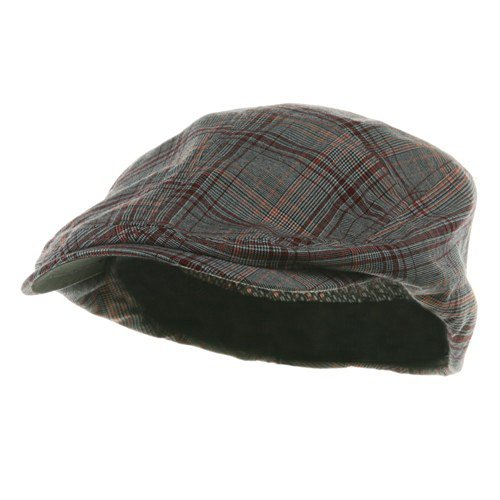 Mega Cap Mens Ivy Newsboy Cap Hat (Red Plaid, -