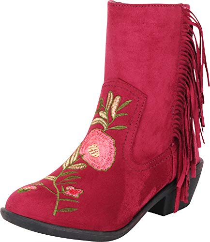 (Cambridge Select Women's Western Floral Embroidered Fringe Low Heel Cowboy Boot,6.5 M US,Burgundy)