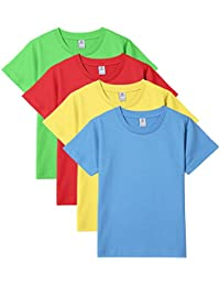 Boys' T Shirts 100% Cotton 4 Pack Short Sleeve Crew Neck Tee Shirt Kids K01