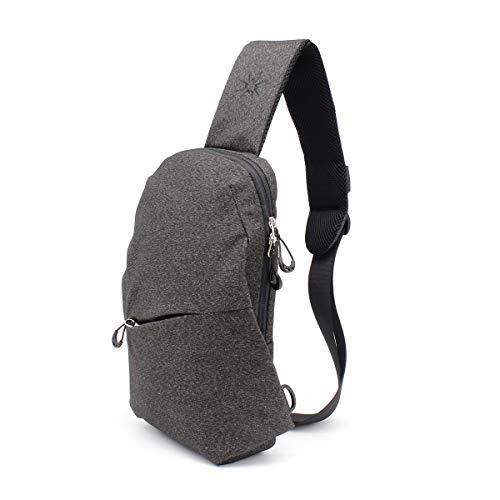 Samstrong Sling Bag Crossbody Bag Left/Right Adjustable Shoulder Backpack Water Resistant Chest Bag Daypacks for Men and Women, Grey