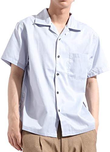無地 ストライプ柄 半袖 オープンカラーシャツ 開襟 ビッグ ワイド ストリート リゾート 夏服 メンズ