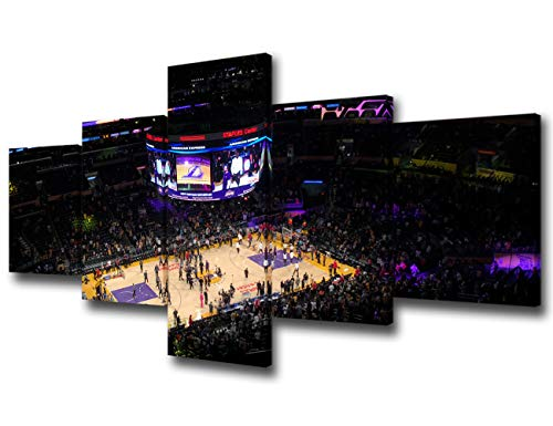 Basketball Game at Staples Center Pictures for Living Room Los Angeles Paintings NBA Wall Art 5 Piece Canvas Modern Artwork Home Decor Framed Gallery-wrapped Stretched Ready to Hang - 50''Wx24''H