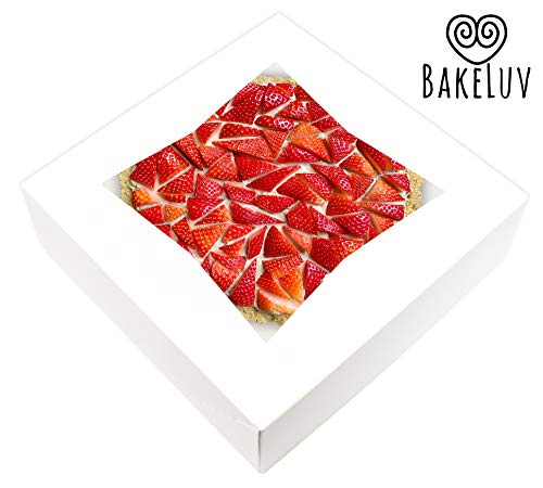 BakeLuv White Bakery Boxes with Window 10x10x2.5 Inches | 12 Pack | Auto-Popup | Thick & Sturdy 350 GSM | 10 Inch Pie Boxes With Window, Cake Boxes, Cookie Boxes, Dessert Boxes, Pastry Boxes