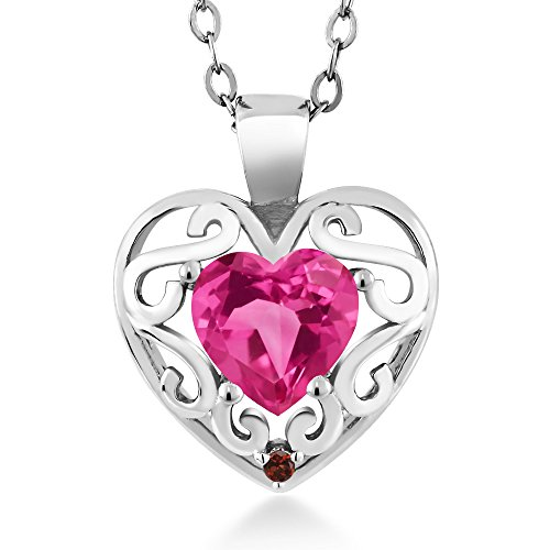 Shape Pink Sapphire Gemstone - 0.81 Ct Heart Shape Pink Created Sapphire Red Garnet 925 Sterling Silver Pendant with 18