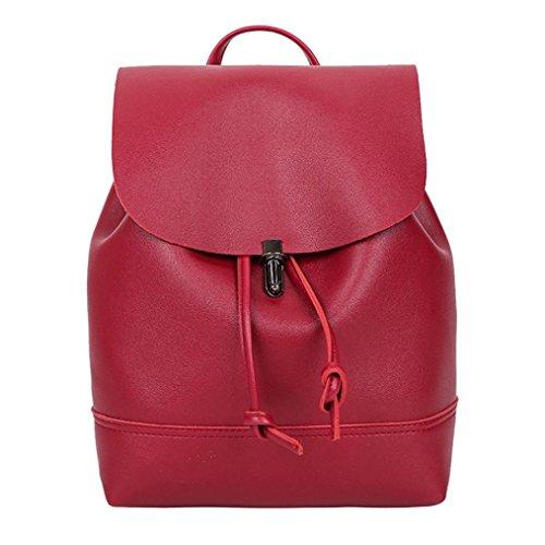 Bag New Women Color Vintage Backpack Bag Red School Trave Leather Pure Tefamore Shoulder Satchel fXSqp