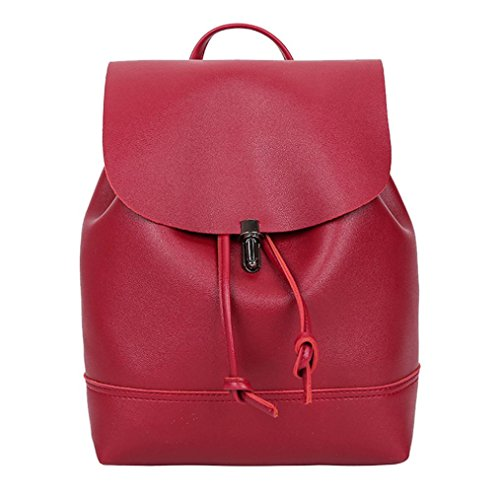 Bag Color Red Backpack Satchel New Vintage Trave Bag Women Pure Tefamore Shoulder School Leather ZqwF1XxB