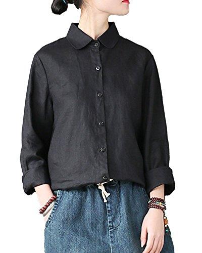 追加まぶしさ飲料IXIMO レディース シャツ ブラウス 長袖 無地 リネン100% ボタンダウン ラウンドカラー ゆったり きれいめ トップス ホワイト ブラック 2色展開