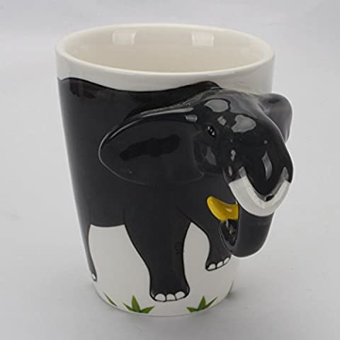 Novelty Morning Hand Painted Coffee Mug - Elephant Fun Handle Handmade Large 15 oz Porcelain Tea Cup Unique Ideal Gifts - Animal Handle Mug
