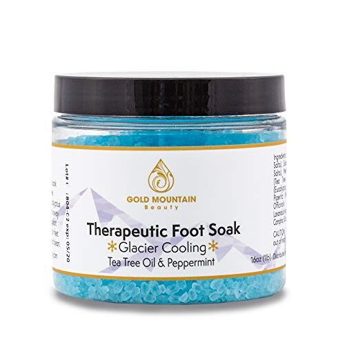 Tea Tree Oil Foot Soak with Epsom Salt. Helps Soak Away Athletes Foot, Fungi Nail, Toe Nail Fungus & Stubborn Foot Odor - Anti-Fungal, Anti-Bacterial, Soften Calluses & Soothes Sore Tired Feet (Blue) ()
