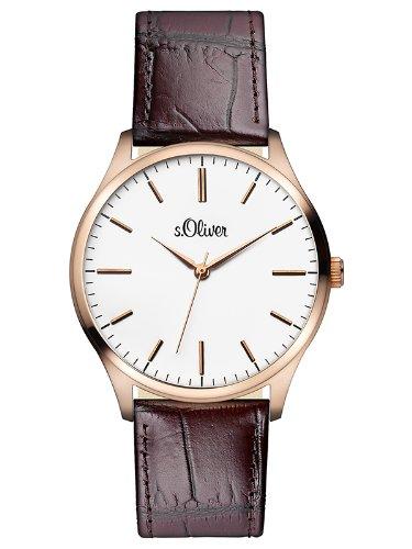 ser SO-2534-LQ - Reloj analógico de cuarzo para hombre con correa de piel, color marrón